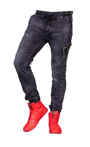 Spodnie męske joggery czarne T597