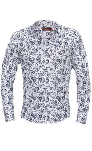 Koszula męska kwiaty biała G73