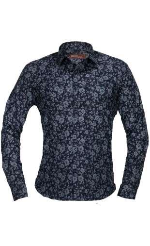 Koszula męska kwiaty czarna G84