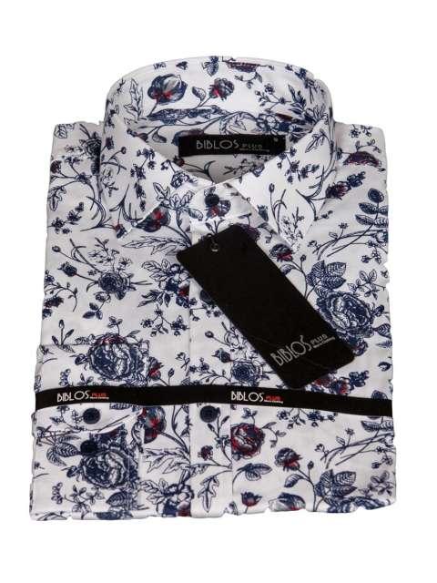 Koszula męska kwiaty biała G92