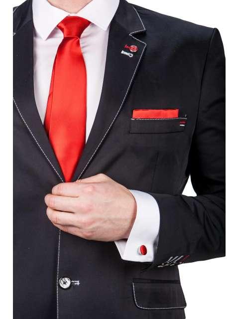 Czerwony krawat, poszetka, spinki fashionmen
