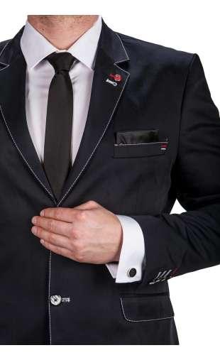 Czarny krawat, poszetka, spinki fashionmen