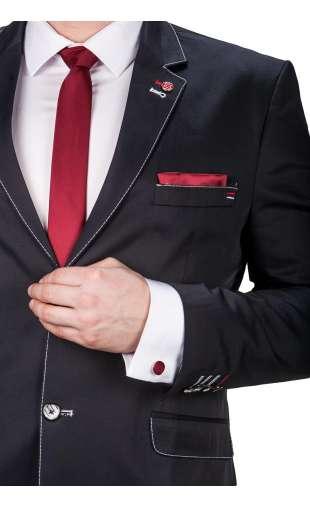 Bordowy krawat, poszetka, spinki fashionmen