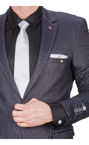 Biały krawat, poszetka, spinki fashionmen