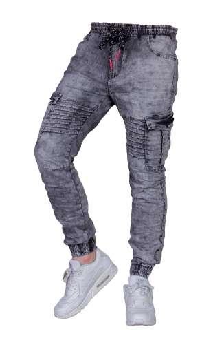 Spodnie Jeansowe grafit joggery T708