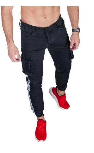 Spodnie męskie joggery czarne 2046