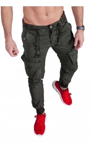 Spodnie joggery oliwka 6008-1