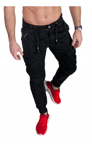 Spodnie joggery czarne 6008-4