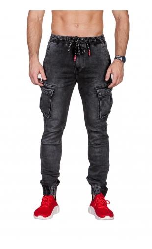 Spodnie jeansowe joggery grafitowe T793