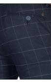 Spodnie wizytowe ciemny granat krata f16