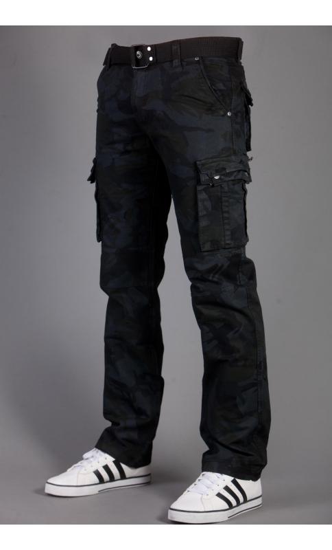 Spodnie bojówki szare moro + pasek 2096 1