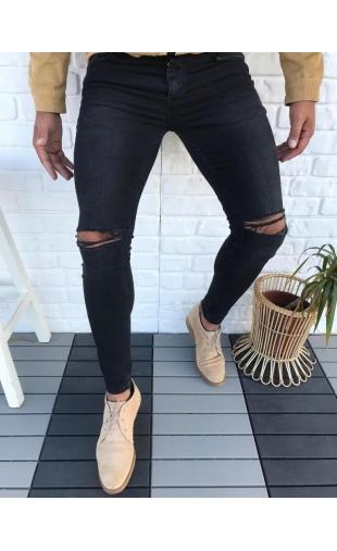 Spodnie Jeansowe czarne denim 3