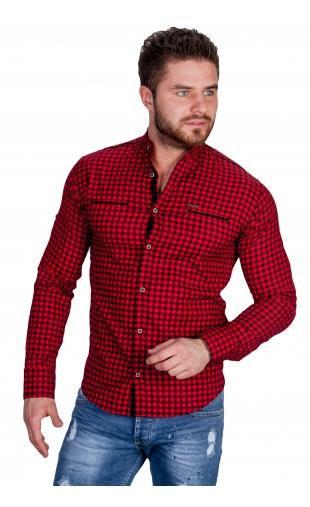Koszula w krate czerwona ze stójką 0146