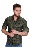 Koszula w krate zielona ze stójką 0146