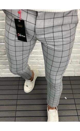 Spodnie wizytowe szare w kratę P-3