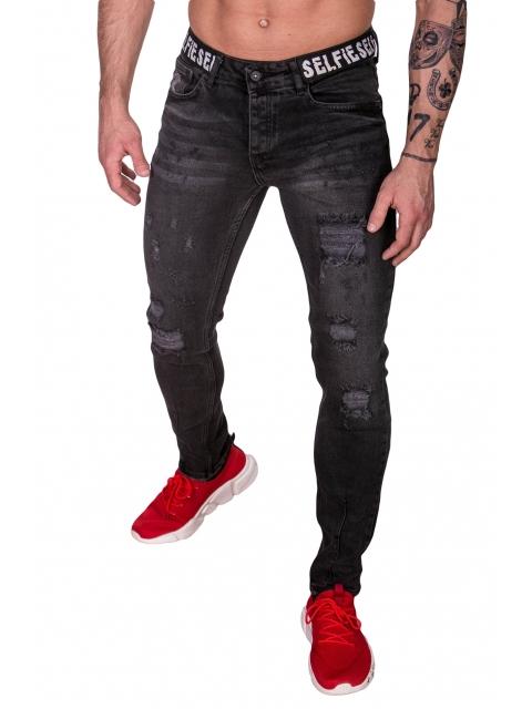 Spodnie Jeansowe czarny rurki dł. 32 2393-1