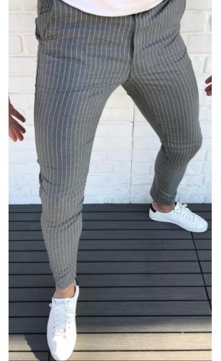 Spodnie wizytowe szare w paski P-6