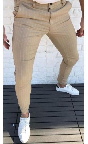 Spodnie wizytowe miodowe w paski P-7