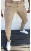 Spodnie wizytowe miodowe w paski P-6