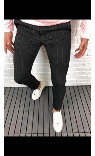 Spodnie wizytowe czarne w paski P-9
