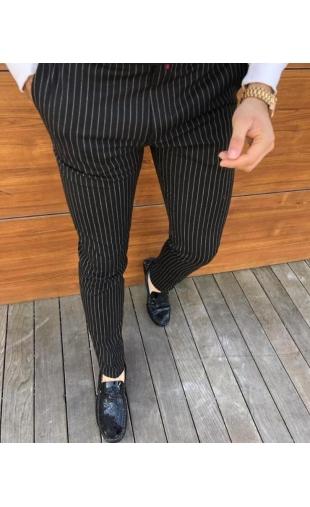 Spodnie wizytowe czarne w paski P-14