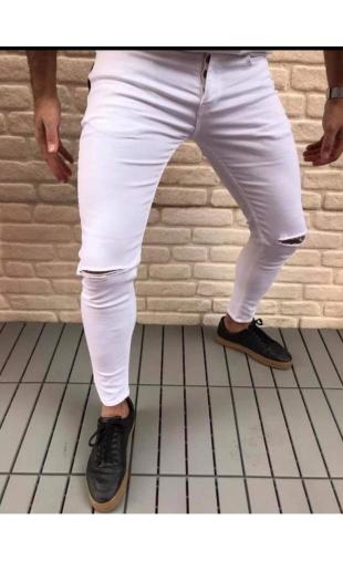Spodnie Jeansowe białe denim 19