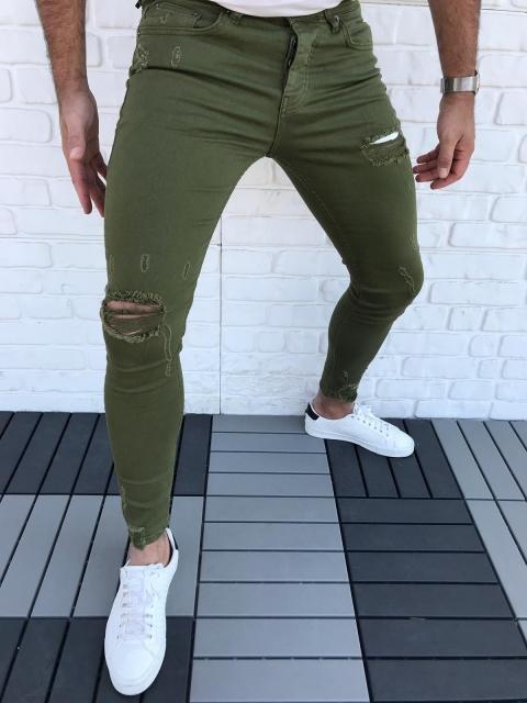 Spodnie Jeansowe oliwkowe denim 20