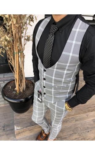 Spodnie wizytowe w kratę K-3