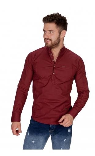 Koszula bordowa ze stójką FB 5005