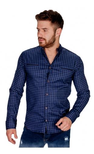 Koszula niebieska ze stójką w drobną kratę FB