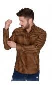 Koszula musztardowa ze stójką w drobną kratę FB