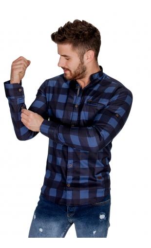 Koszula niebieska ze stójką w kratę FB