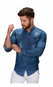 Koszula męska jeansowa ze stójką FB
