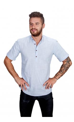 Koszula błękitna ze stójką FM-1