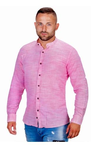 Koszula lniana różowa ze stójką ESP-1