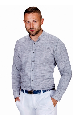 Koszula lniana szara ze stójką ESP-2