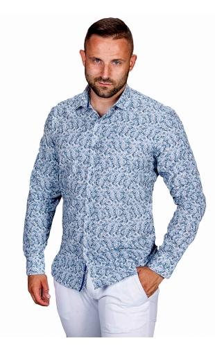 Koszula męska biała w kwiaty ESP-7
