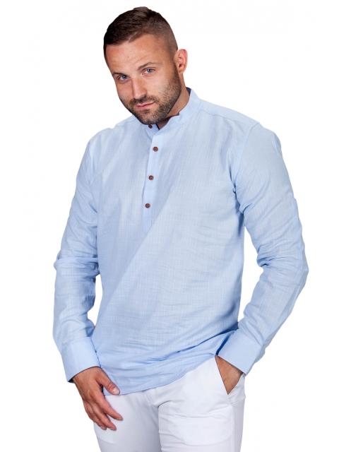 Koszula lniana błękitna S.R-1
