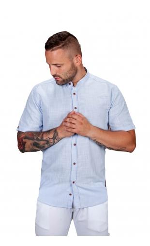 Koszula lniana krótki rękaw błękitna S.R-1