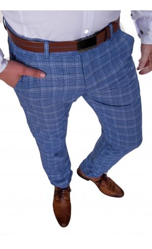 Spodnie wizytowe niebieskie w kratę 2000