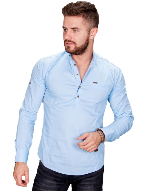 Koszula męska błękitna stójka Fly