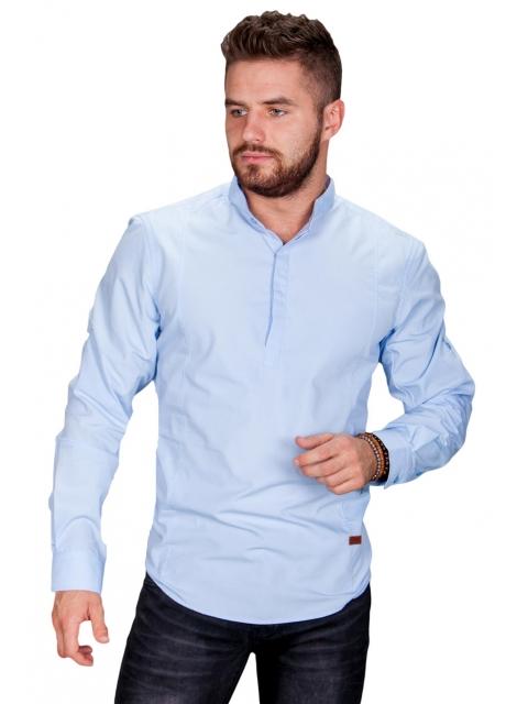 Koszula męska błękitna stójka MB-002