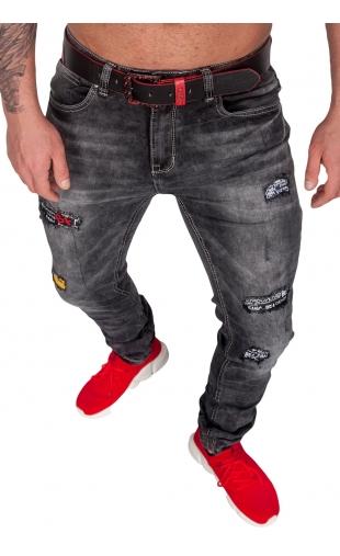 Spodnie jeansowe ciemne szare rurki rt6950