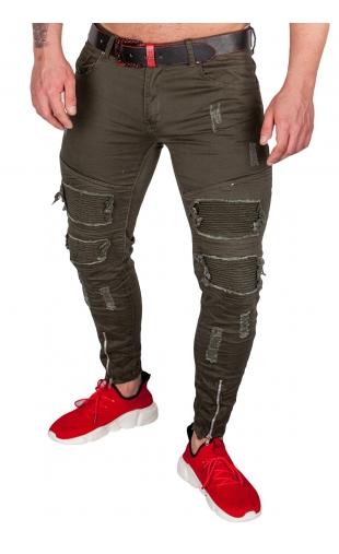 Spodnie jeans zielone E6977-J
