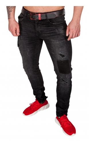 Spodnie jeansowe czarne slim-fit