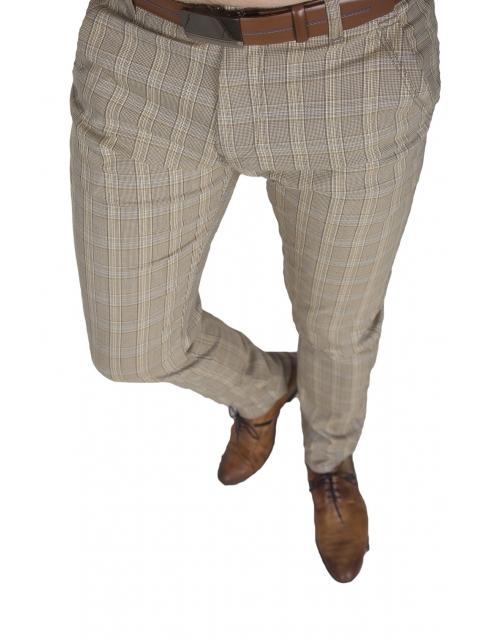 Spodnie wizytowe męskie w kratę 2004