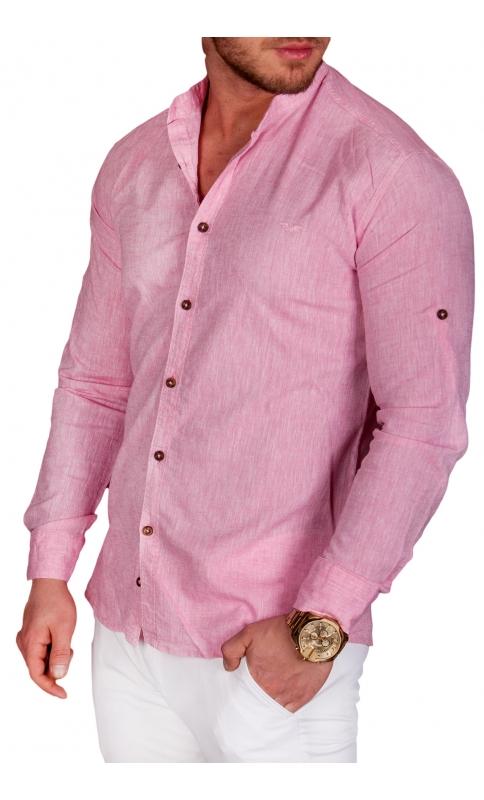 Koszula męska lniana różowa Code  C5W4b