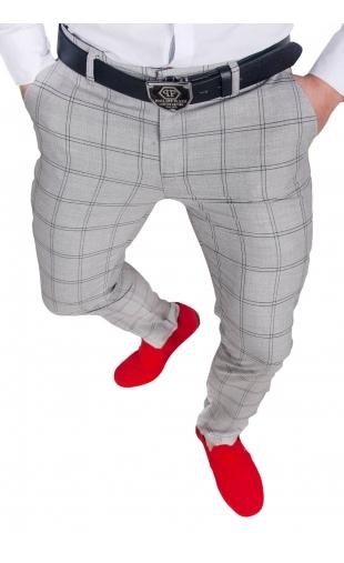 Spodnie męskie chinosy materiałowe szare DJ-2