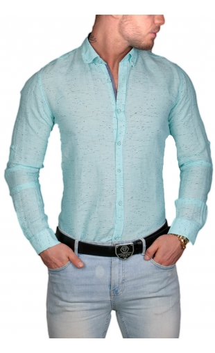 Koszula męska zielona mcl27 100% Naturalna