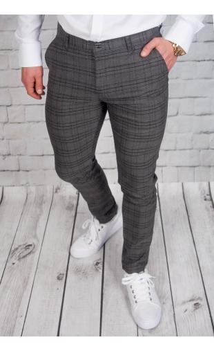 Spodnie męskie chinosy materiałowe grafitowe DJ-1
